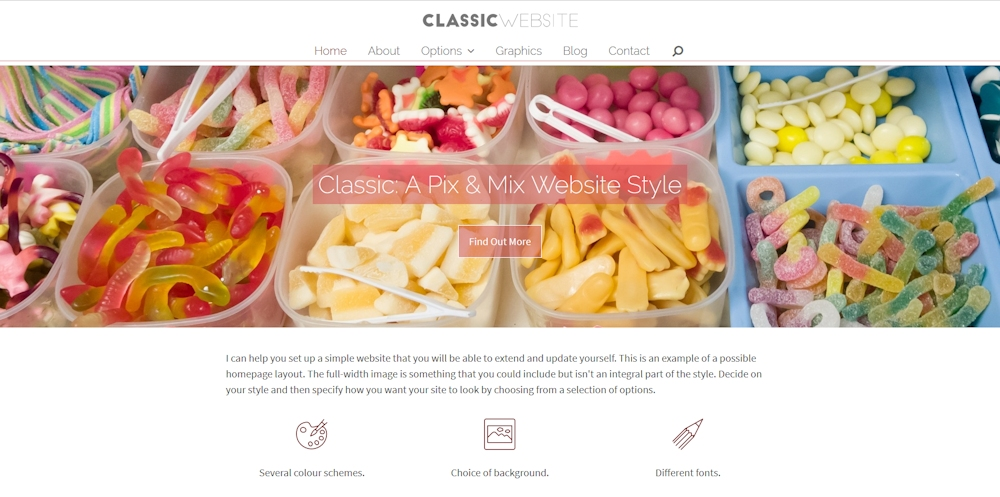 Classic pix and mix website style from Jane B Website Help