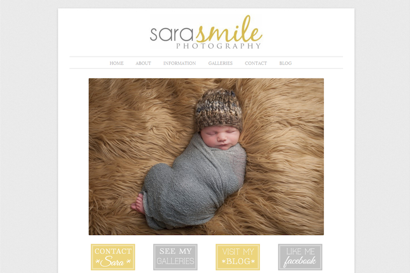 screen print of Sara Smile Photography website