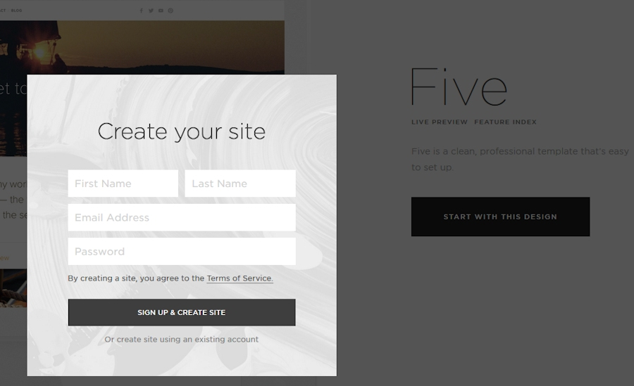 Squarespace new site screen shot