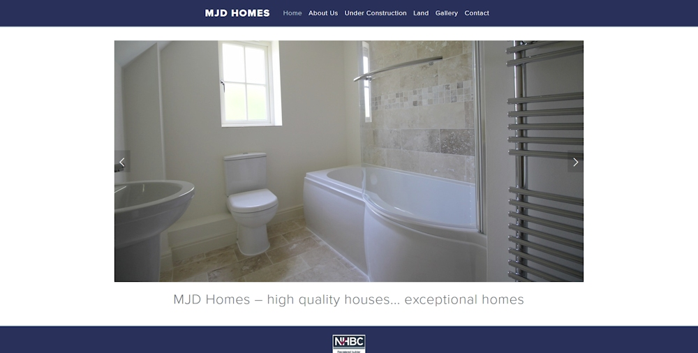 Proposed mjd homes site using Squarespace Pacific template