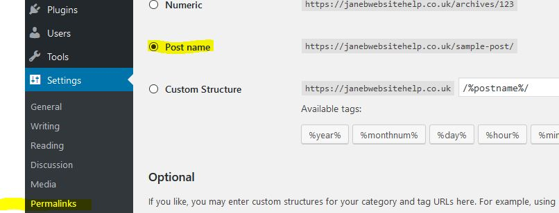 permalink setting is chosen to be post name